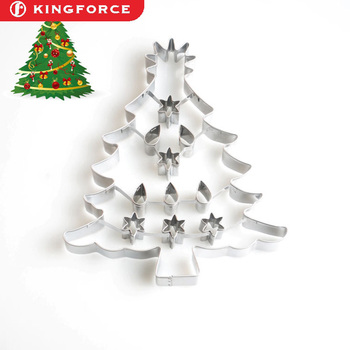 7 inch stainless steel christmas tree cookie cutter with interior cut out kf610062