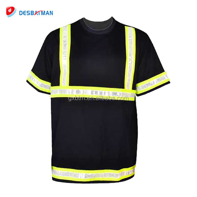 cheap 100% polyester breathable fluorescent polo t shirt short sleeve workwear safety shirt