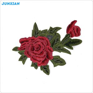 Chinese style professional rose applique embroidery flower patches