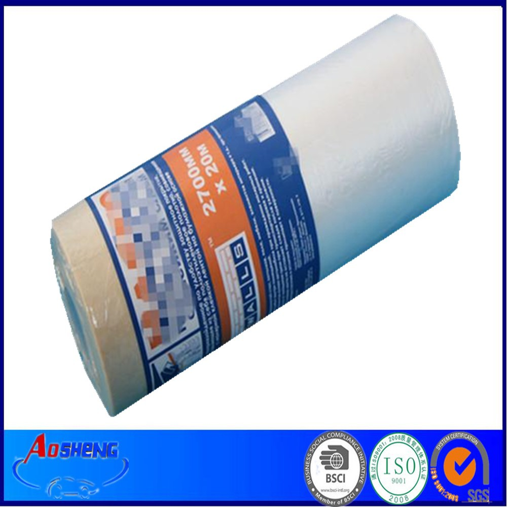 christmas pe taped plastic masking drop film with glue
