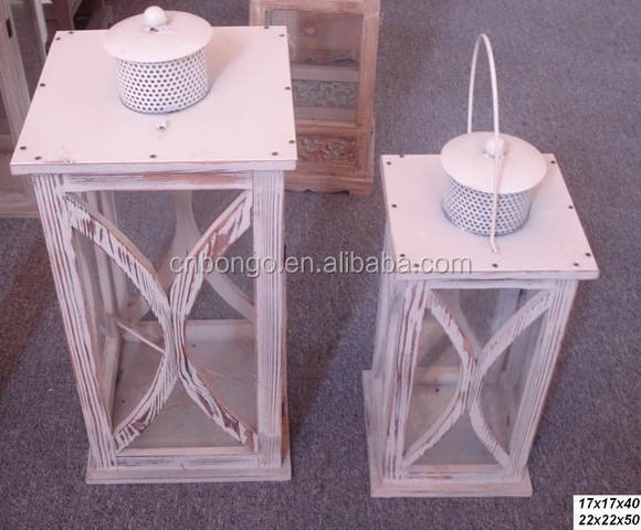 set of 2 white wooden candle lantern