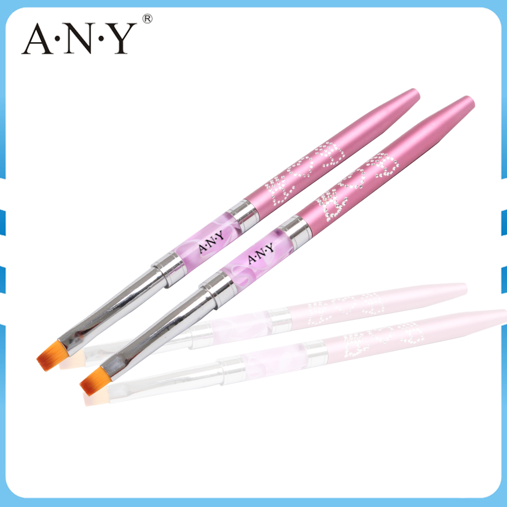 ANY Pink Acrylic And Metal Handle UV Gel Nail Brush Professional For Nail Beauty Design