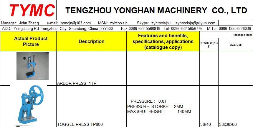 3000kgs ARBOR PRESS manual press machine, View manual press, TYMC Product  Details from Tengzhou Yonghan Machinery Co , Ltd  on Alibaba com