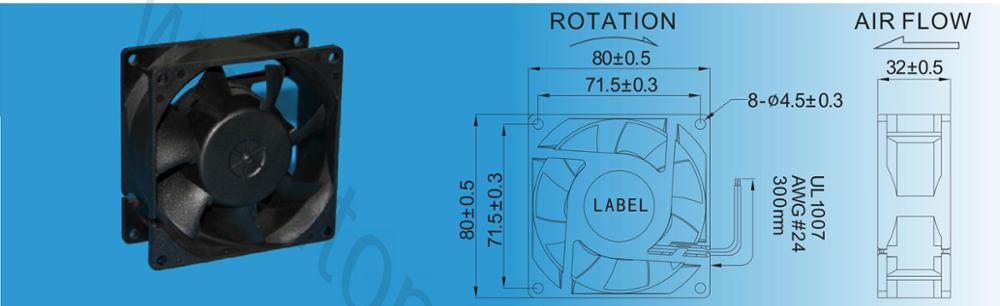 80 x 80 x 32mm 5v 12v 24v 48v brushless dc motor usb electrical cooling fans