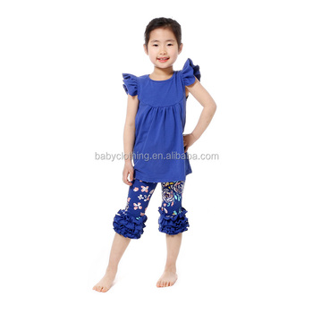 Wholesale fall kids boutique clothing flutter sleeve girl clothing girls clothes autumn