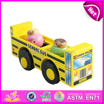 Wholesale best gift school bus shape yellow wooden car toy for baby W04A070