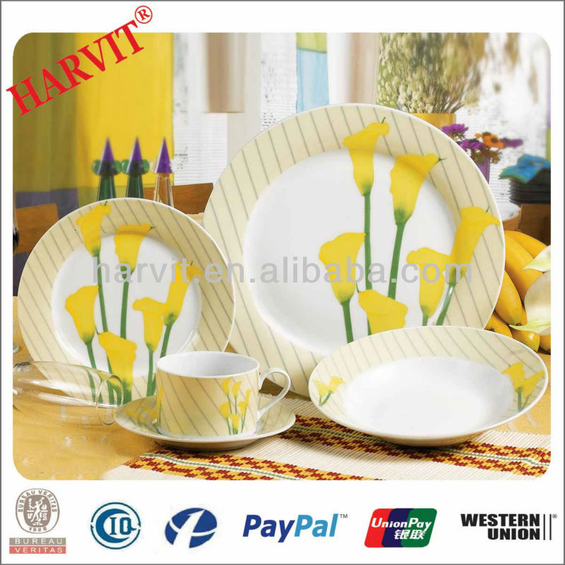 2014 Yellow Lily Design Part Decals Beautiful Tableware Restaurant/Home/Daily Use Fine Porcelain Dinnerware Sets