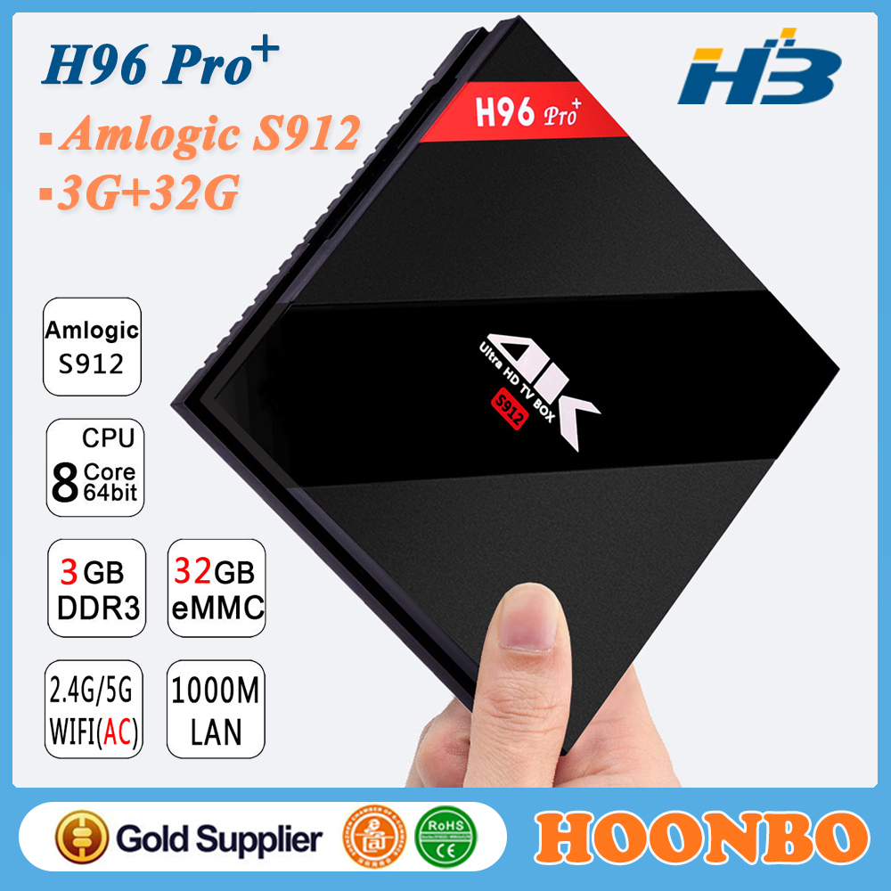 2017 H96 Pro Plus 3GB RAM DDR3 32GB Rom EMMC Android 7.1 Kodi 17.2 Octa Core Amlogic S912 H96 Pro+ Set Top Box