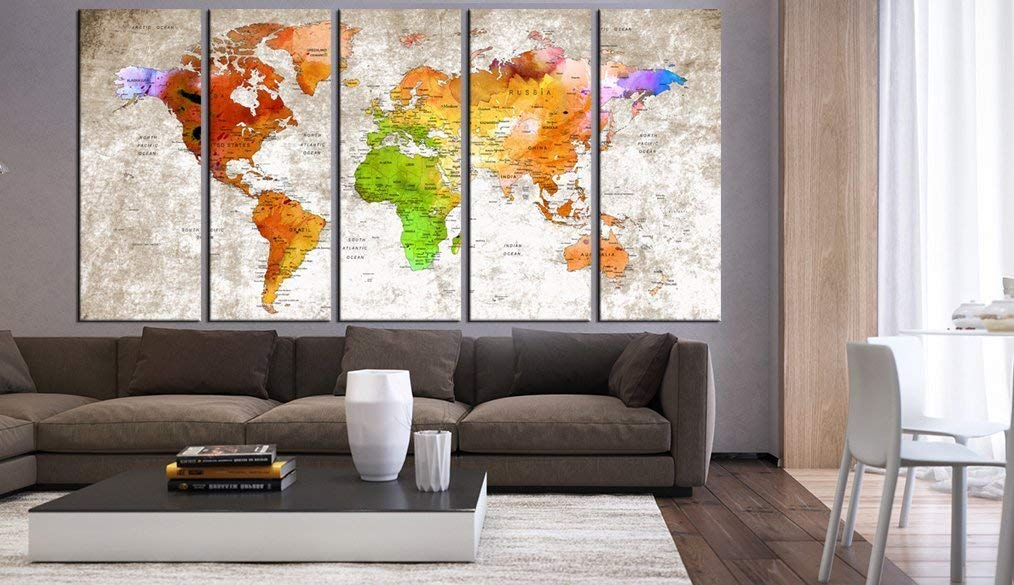 Large World Map Wall Art Canvas Print Set Multi Panels 5 Pieces, Push Pin World Travel Map Print Wall Decal For Kids Room, Framed, Large Watercolor Wall Art Print Hr84