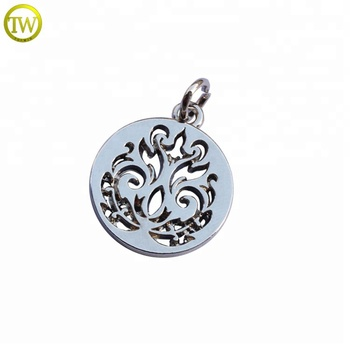 Latest hollow gold metal  jewelry tags brand logo metal charms for necklace