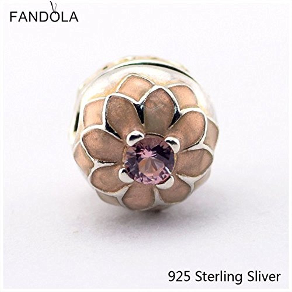 Sugar Memory 925 Sterling Silver Beads Fits Jewelry Bracelets Blooming Dahlia Clip, Cream Enamel Blush Pink Crystal DIY Charms