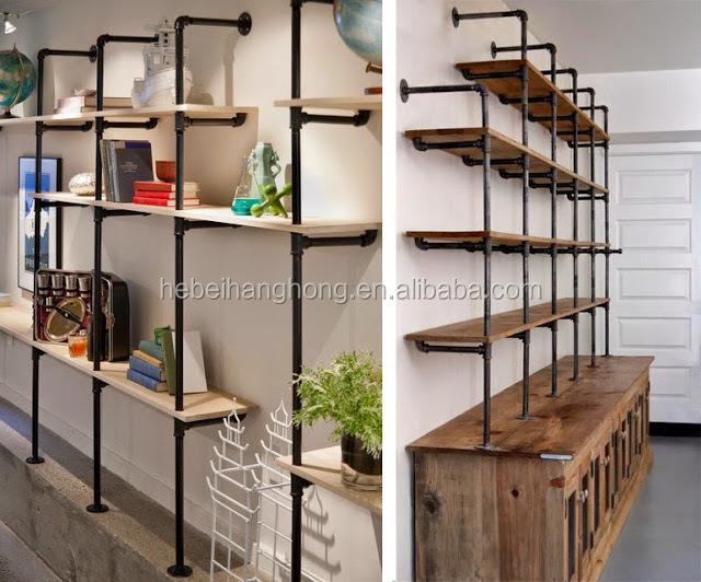 diy metall rohr und holz b cherregal mit 1 2 temperguss rohr bodenflansch tee ellenbogen. Black Bedroom Furniture Sets. Home Design Ideas