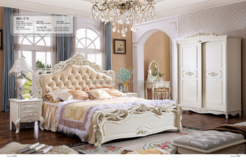 French Style White Color Bedroom Set Furniture With Dressing Table Wardrobe