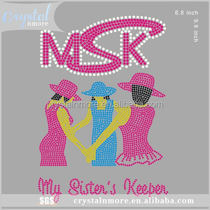 My Sisters Keeper Rhinestone Iron On Transfer Decal for t shirt
