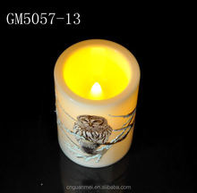 Glass decorative candle with owl pattern for home decoration