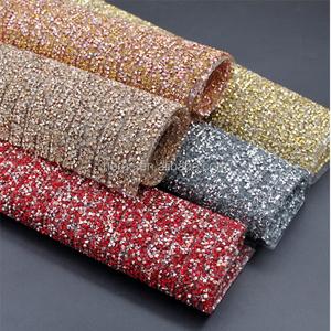 New design 24*40cm hot fix sticky back crystal sheet resin rhinestone mesh  trimming wholesale