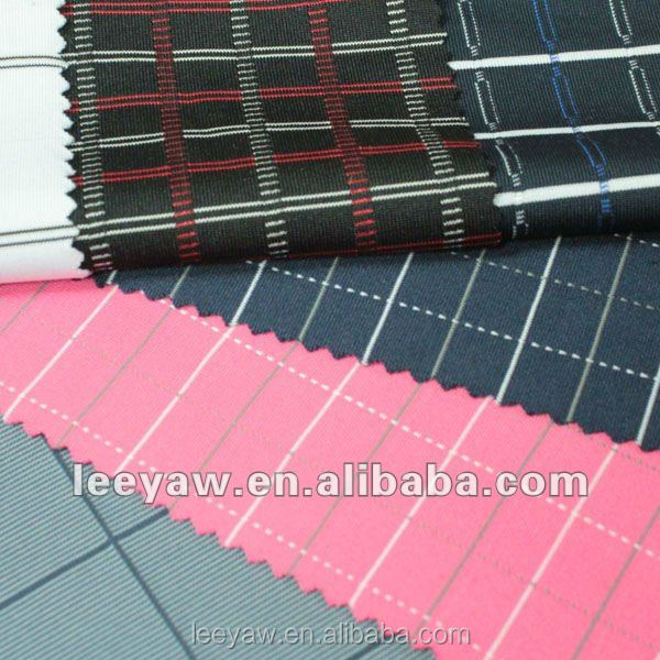 vertical check jersey stripe fabric made of 94% poly and 6% spandex
