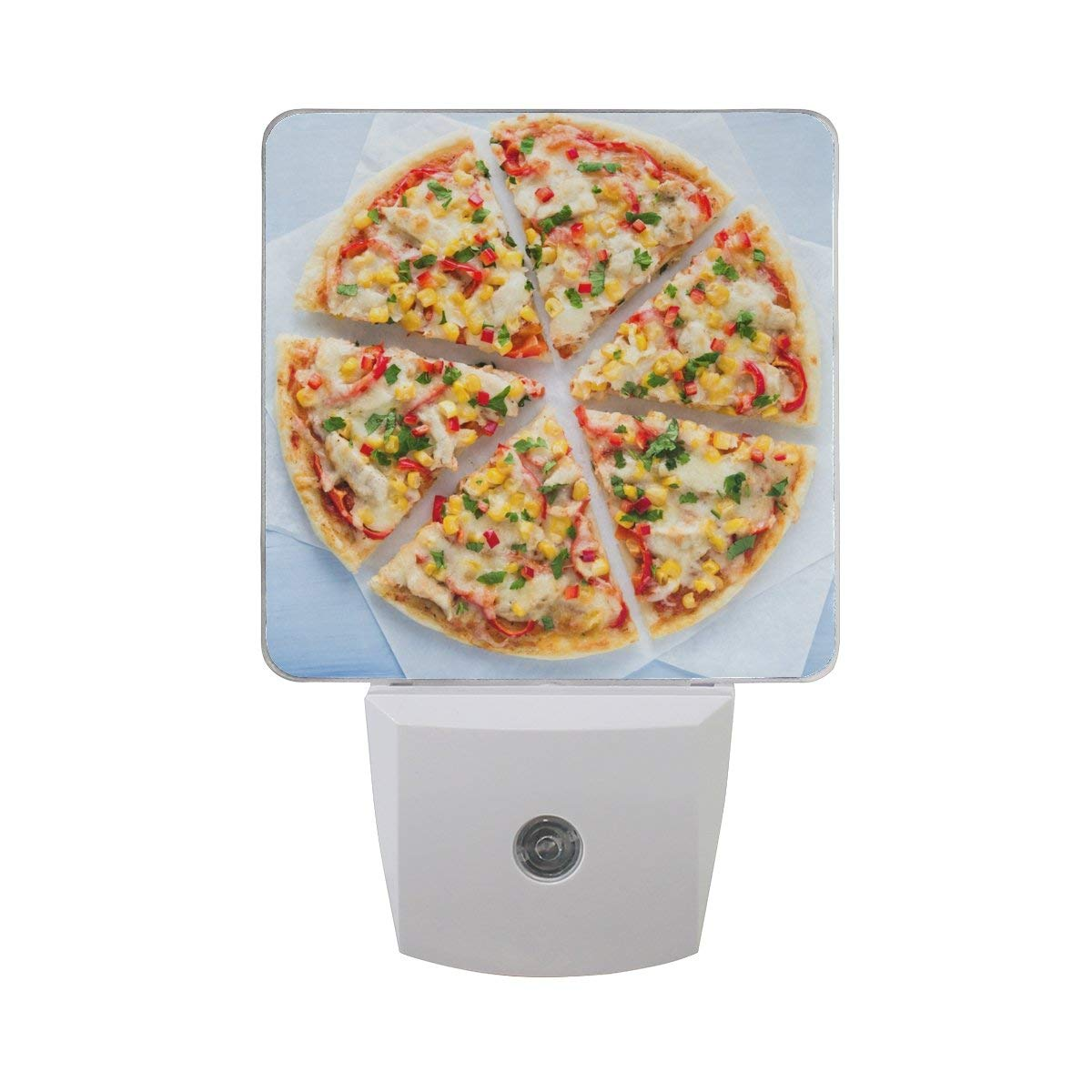 Naanle Set of 2 Colorful Italian Pizza Slice With Cheese Chicken Sweet Corn Pepper Auto Sensor LED Dusk To Dawn Night Light Plug In Indoor for Adults