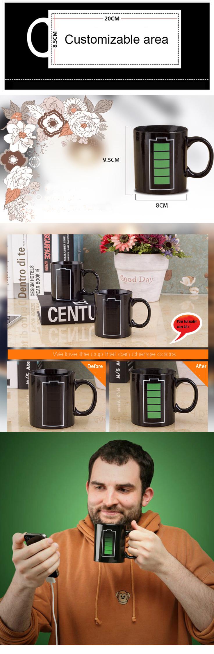 Magic Mugs Color Heat Changing mug,black Coffee Mug For Wholesale Custom