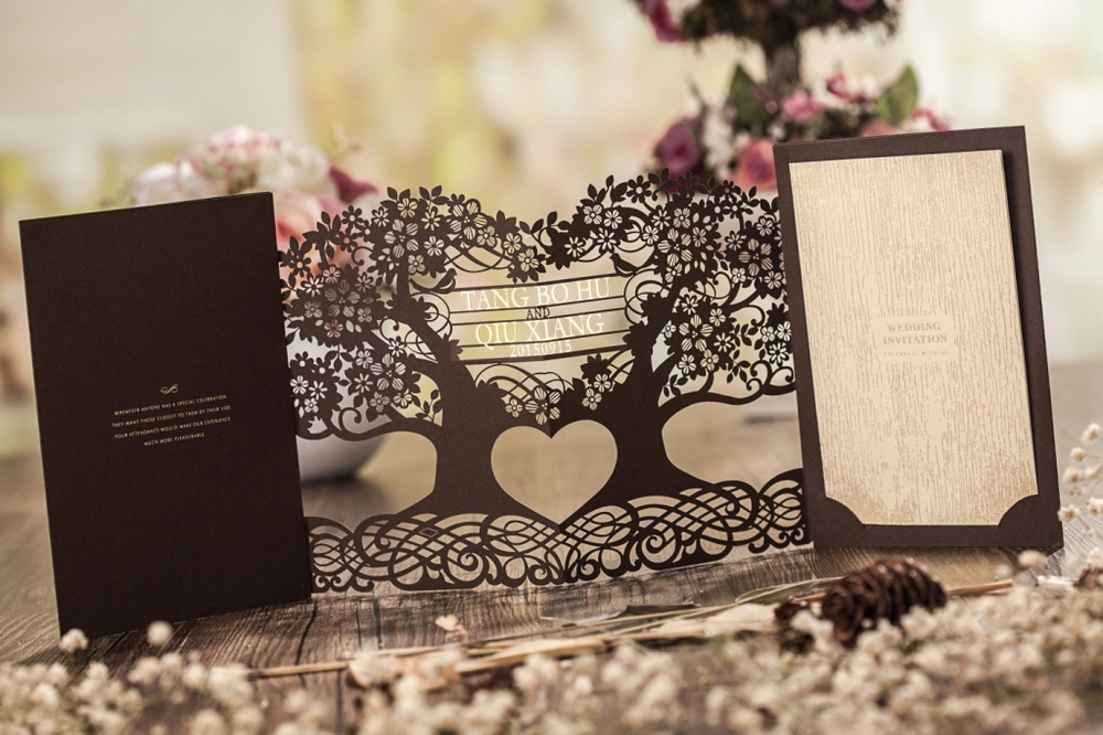 3D Magic tree wedding invitation card laser cut CW5023, View 3D ...