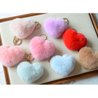 Myfur Wholesale Heart Shape Rabbit Fur Ball Keychain Lovely Multicolour Keyring Gift For women