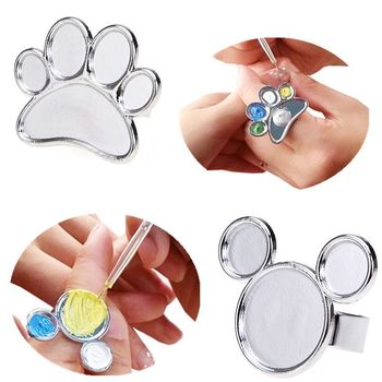 1 Stks Mini Nail Art Metalen Vinger Ring Palet Dish Acryl Uv Gel