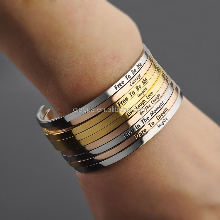 Stainless Steel Engraved Bracelets Wholesale,Fashion Hand Stamped Cuff Bangle