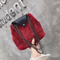 Fashion Plush ladies Shoulder Bags chain small purses for women 2018 handbag