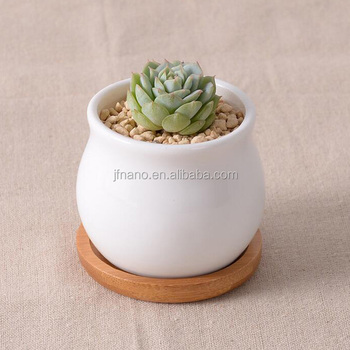 Latest Design Small White Ceramic Planter Pot With Bamboo Tray