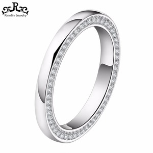 Simple Design Wedding Band with 118 Pieces AAA CZ Finger Ring for Women / Men Wholesale RIR67