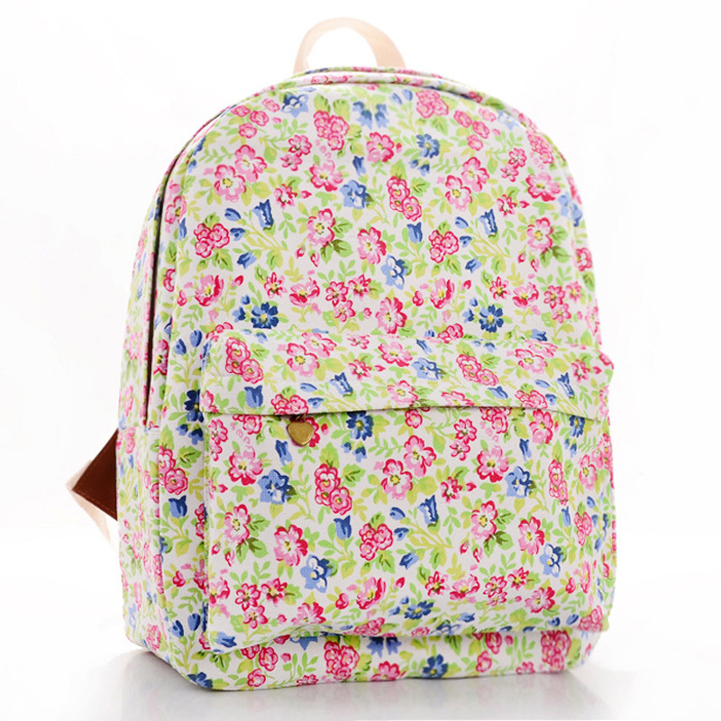 Japan and Korean fresh style women s floral Canvas Backpacks flowers  Printing backpack female Student School bags cartable B6 a67bccad00489