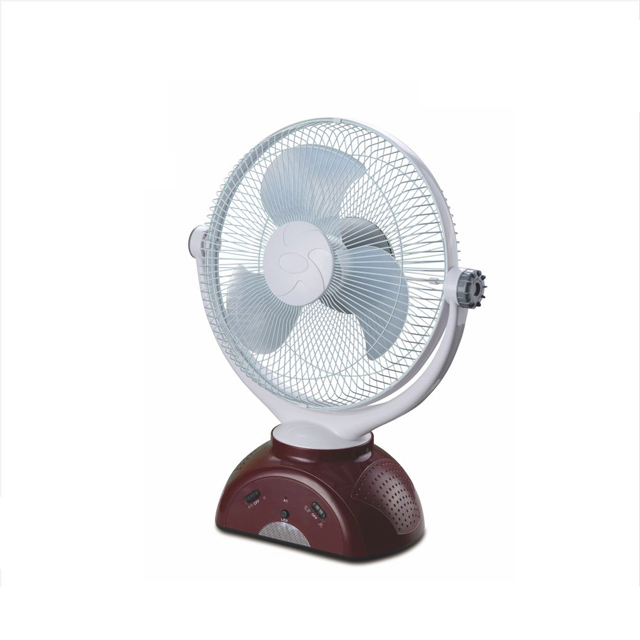 "CR-1038 12"" rechargeable emergency electric table fan with LED light"