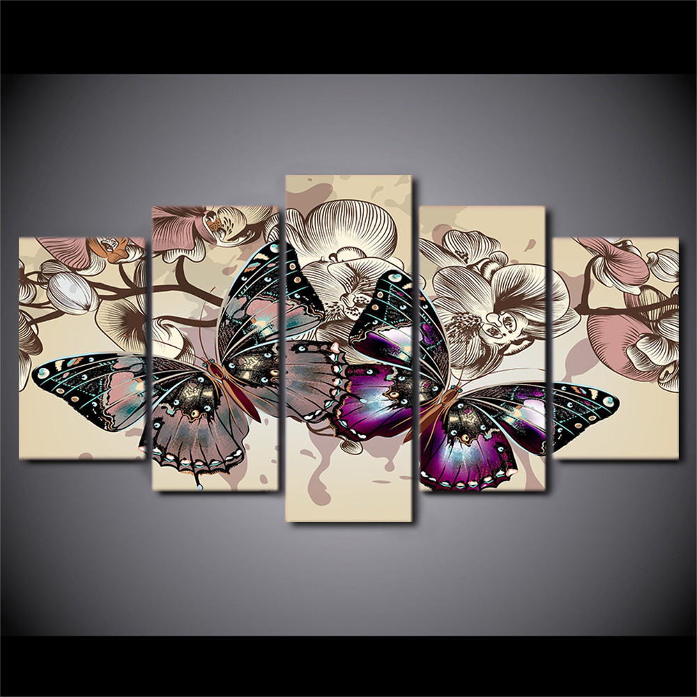 Framed wall art canvas hd printed posters home decor 5 pieces flowers butterfly painting for living room pictures