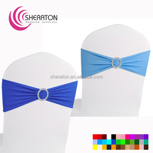 wholesale cheap spandex chair sash blue with buckle/stretch lycra chair cover sashes tie styles for wedding party factory price