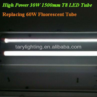 replacing 60W-70 Wattage fluorescent tube 150cm 30W/ 35 wattage T8 Tube High Power LED tube light