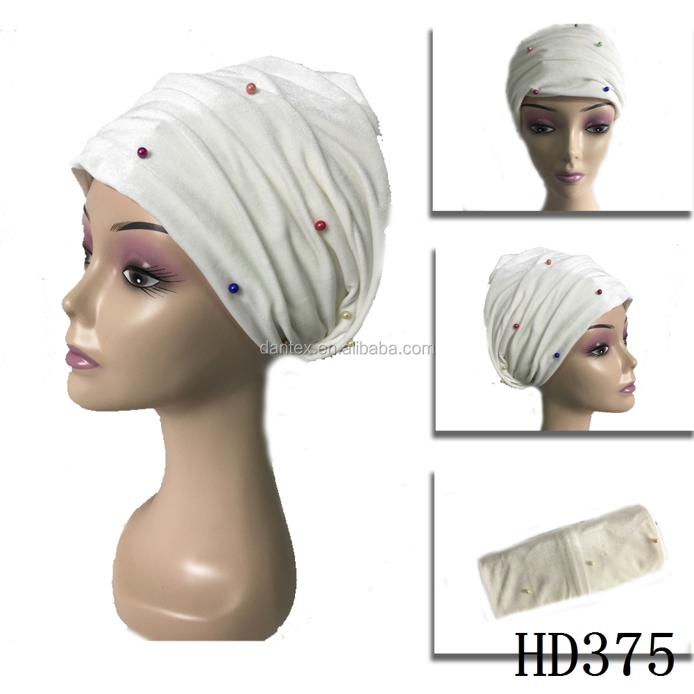 2017 High Quality White Velvet Turban with beads Ladies Head Wrap In Bandanas HD375