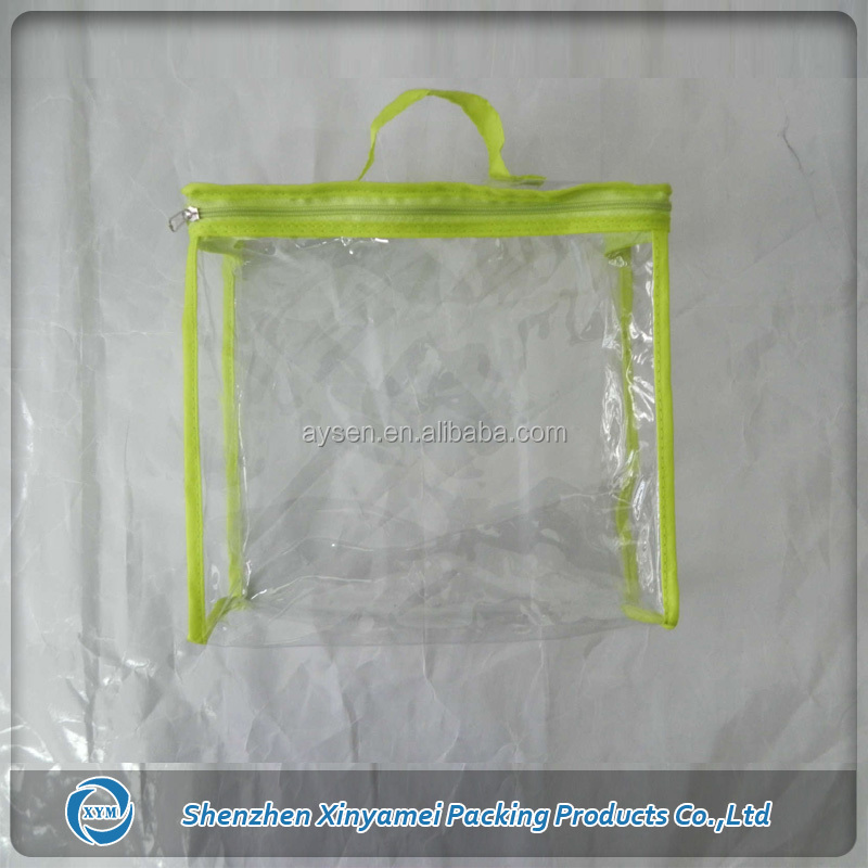 dustproof clear pvc plastic curtain zipper storage bag with neon green binding
