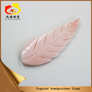 wholesale pink leaf shaped mother of peal engraving denpant for decoration