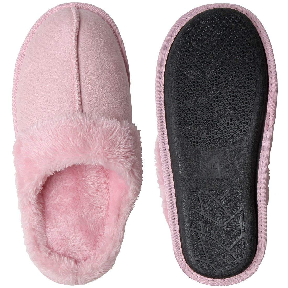 Home-X Women's Cozy Microfiber Clog Slippers, Incredibly Soft and Comfortable, Perfect for Daily Wear, Pink (Medium)