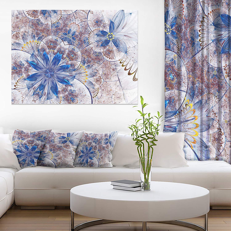 Design Art Blue Brown Grungy Floral Shapes Large Floral Wall Art Canvas, 20x12, Blue