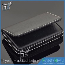 Easy carrying wholesale classic black pu leather business name card case