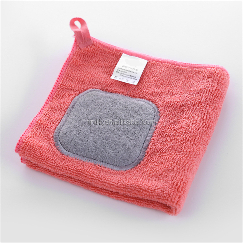 Premium Embroidery Scouring Cloth Multiprupose Kitchen Magic Cleaning Cloth Dish Towel for Pan Cleaning