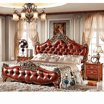 Luxury Royal Dark Brown Wooden Mdf Leather Headboard King Queen Size Bed Italy Style Bedroom Furniture