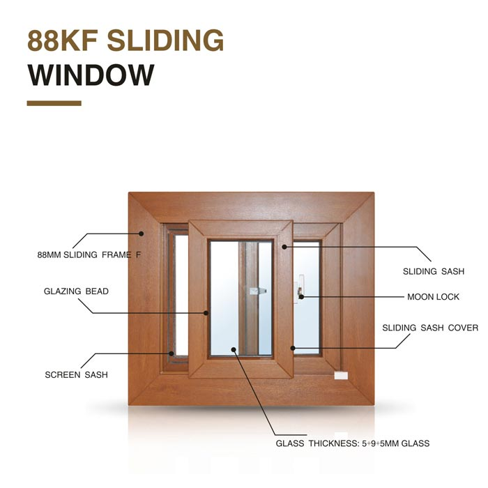 Top Brand uPVC Sliding Window Section Double Glazed Patio Windows