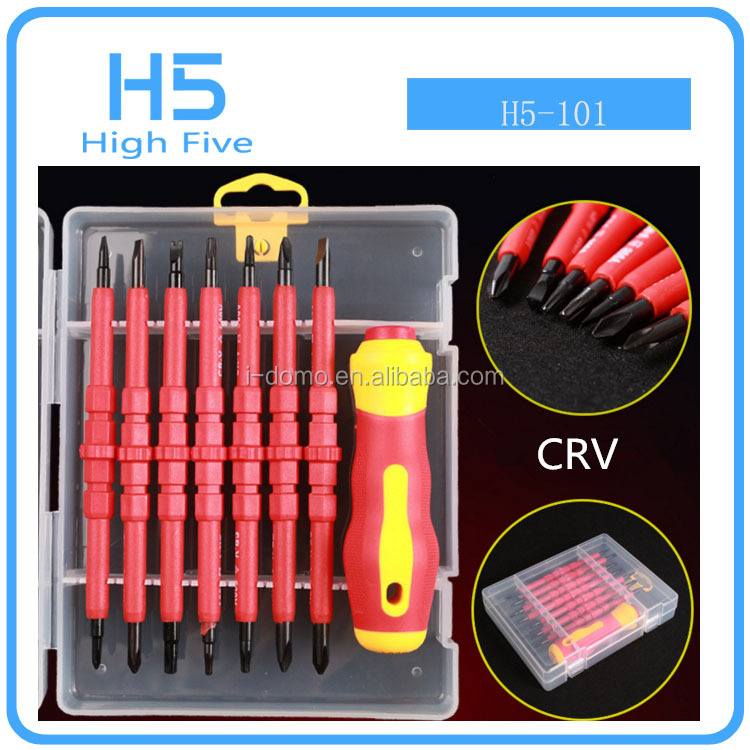 Wholesale New 15pcs Precision electrical Interchangeable 1000V slotted/phillips screwdriver for VDE insulated screwdriver <strong>tools</strong>