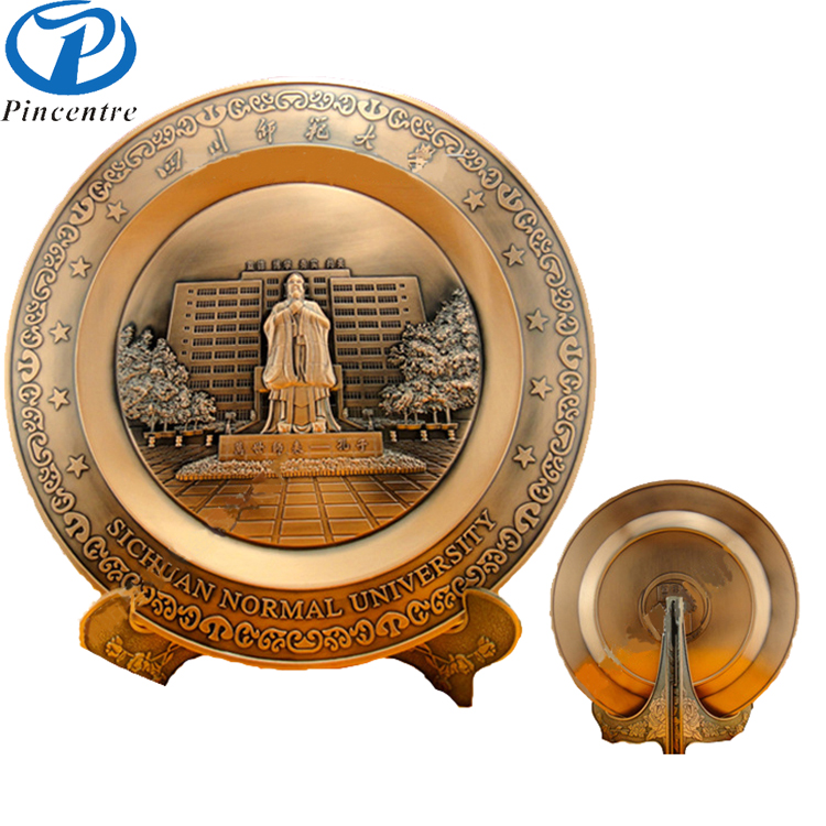 Custom Made Casting Antiquate Embossed Metal Award Plate For Souvenir