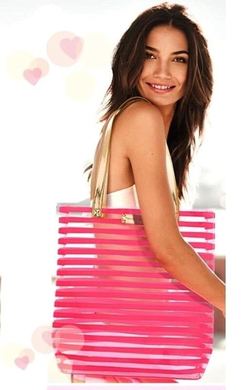 6f77f529298b45 Get Quotations · VICTORIA S SECRET Beach clear Tote Bag with pink tripes