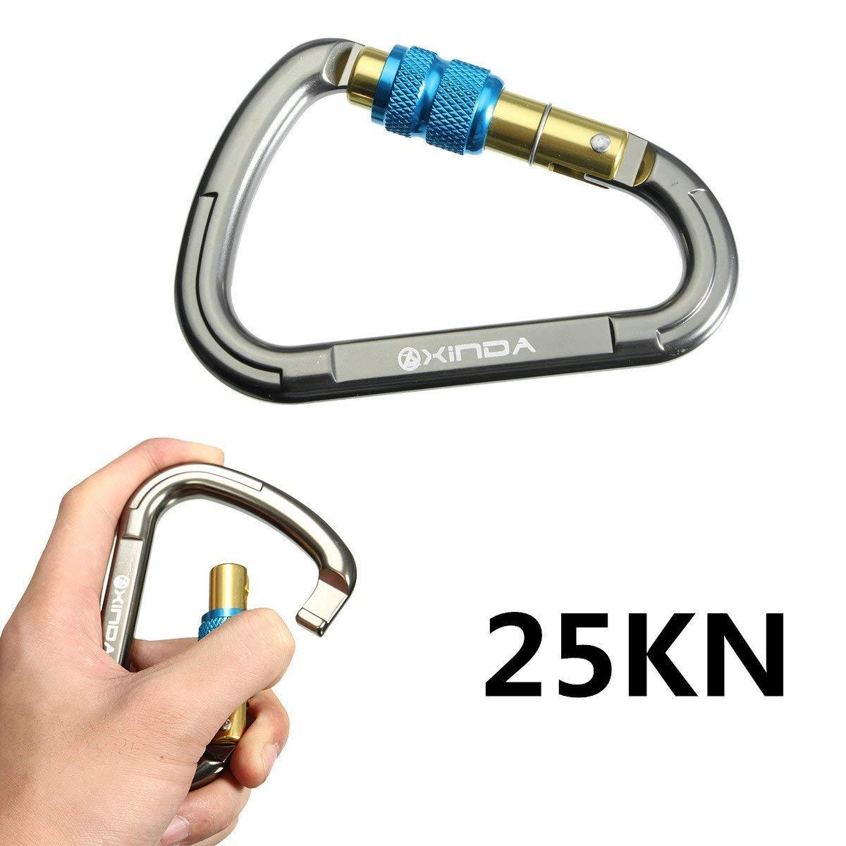 D-ring 26KN Screw Locking Carabiner Climbing Caving Hook Keychain Aluminum US