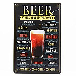 Yours Dec Metal Tin Sign Beer Styles Around the World (0104005), Metal Tin Sign, Wall Decorative Sign By 66retro