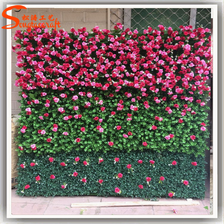 Customized Artificial Flower Wall Plastic Flower Wall